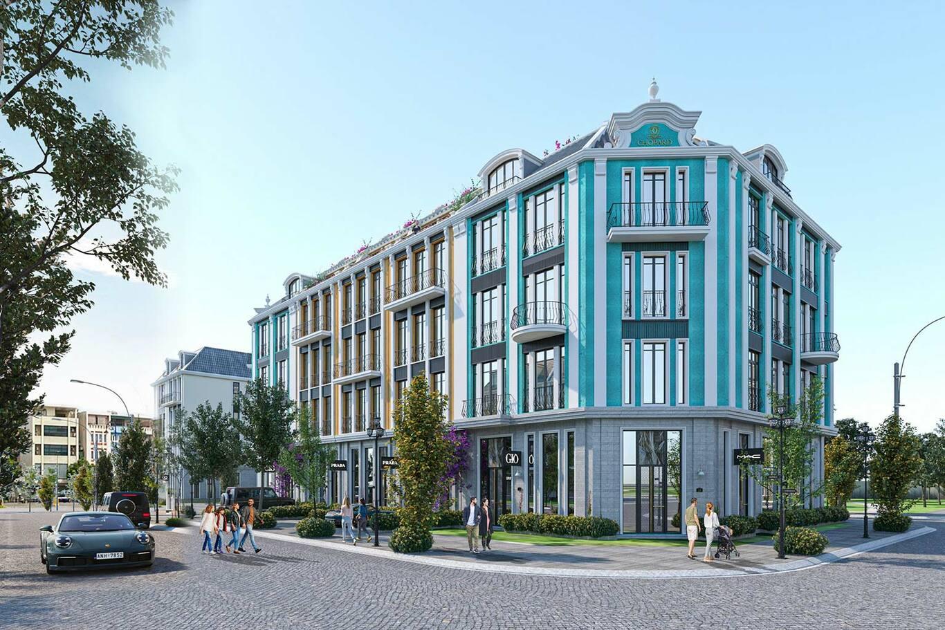 ShoptelLa Queenaracó diện tích từ 100 m2, được thiết kế cao 3 đến 4 tầng.