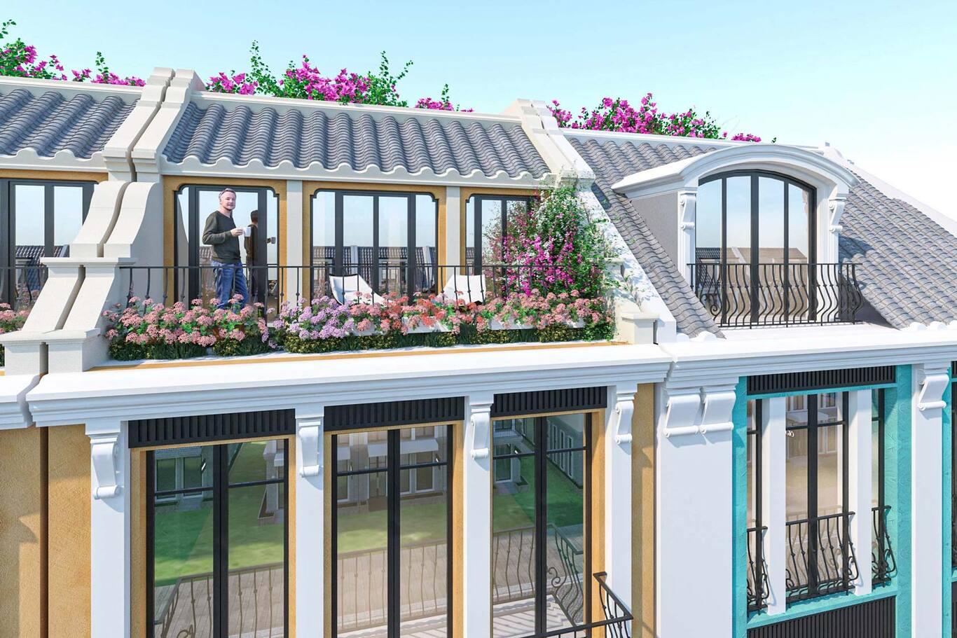 Không gian cafe ngoài trời tại tầng mái shoptel La Queenara Hội An